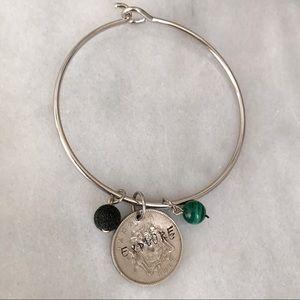 Travel bug nickel free coin bracelet